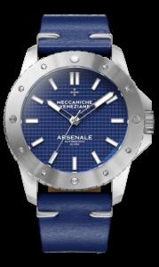 Meccaniche Veneziane Arsenale 45mm blå med skinnrem