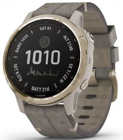 fenix 6S Pro Solar Edition - Light Gold with Shale Gray Suede Band