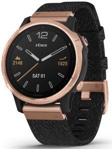 fēnix® 6S Sapphire, roségullfarget med rem i sammenflettet sort nylon