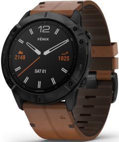 fēnix® 6X Sapphire, sort DLC med kastanjebrun skinnrem