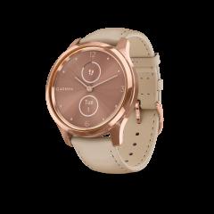 vívomove® Luxe, urkasse i rustfritt stål med PVD-belegg i 18K rosegull og lys sandfarget rem i italiensk skinn