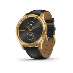 vívomove® Luxe, urkasse i rustfritt stål med PVD-belegg i 24K gull og sort rem i preget italiensk skinn