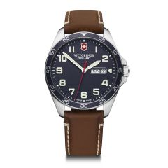 VICTORINOX FIELD FORCE 42 BLUE DIAL  BROWN LEATHER